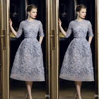 Wholesale sky blue elie saab dresses for sale - Group buy Elie Saab Evening Dresses Elegant Lace Applique A Line Prom Gowns Long Sleeve Tea Length Sexy Formal Party Celebrity Dress Customized