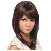 парики с наклонной челкой оптовых-2019 новый дизайн OEM ODM ежедневного использования свадьба косой челки короткие вьющиеся прямые темно-коричневые модные парики для женщин