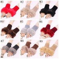 Wholesale ladies crochet gloves for sale - Group buy Wool Mixed Artificial Fur Ladies Fingerless Gloves Knitted Crochet Winter Gloves Warmer Evening Gloves pairs LXL1283B