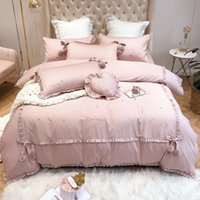 set de colcha rosa al por mayor-Las niñas de moda lecho 4-7pcs princesa envío Textiles para el hogar Rosa Bedsheet 100% algodón cama de 1,8 m cubierta del edredón caliente de la venta