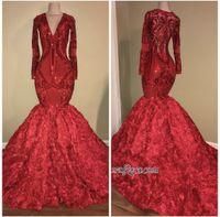 sexy glamouröse rote prom kleider groihandel-Glamorous Red V-Ausschnitt Pailletten Langarm Pailletten Abendkleid 2019 Mermaid Bottom Flowers Abendkleider Formelle Kleid Kleider