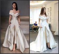 özel giysiler toptan satış-2019 Yeni Off-omuz Konfeksiyon Abiye Tulum ile Özel Yapmak Vestidos Festa Kadınlar Moda Durum Balo Elbise Zuhair murad