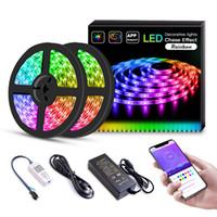 cuerda impermeable de color led al por mayor-Tira de luz LED IC swith App 32.8ft / 10m Kit LED mística y 5050 RGB impermeable flexible 300Leds Cambio del color de iluminación Luces en cuerda