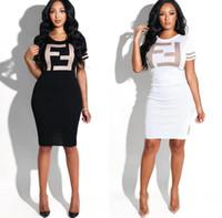 strick bedrucktes hemdkleid großhandel-Sommer 2019 neues Kleid gestrickt Rundhals bedruckt Brief Kleid Frau langen Rock T-Shirt Rock Geschenk
