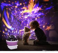 gökyüzü projeksiyon projektörü toptan satış-Yüksek Kalite LED Döner Projektör Starry Sky Gece Lambaları Romantik Projeksiyon Işık Ay Gökyüzü Romantik Gece Işığı Yenilik Lambalar