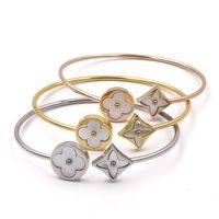 weißgold armbänder für frauen großhandel-Designer Schmuck Luxus Frauen Open Bangle White Perlmutt Armbänder Frau Hochzeit Engagement Fine Jewelry zum Verkauf
