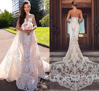 Wholesale sexy wedding dresses for sale - 2019 Elegant Mermaid Wedding Dress With Detachable Train Cheap Bohemian Bridal Gown Plus Size Custom Made Brides Gowns BC1777