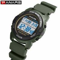 relojes verde del ejército al por mayor-PANARS Sports Kids Watch WR50M Reloj de pulsera impermeable para niños 2019 Army Green Alarm Clock Relojes multifunción para niños 8135
