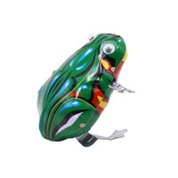 Wholesale Classic Retro Toy Tin Clockwork Frog Color Box Leap Frog s s Childrenhood Memory Gift Toy