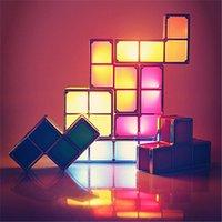 mesas de cubo con luz led al por mayor-Tetris Puzzle Lámpara LED Bloque Construible Mesa cama Pequeño Decorativo Apilable Luz de Noche Novedad Cubo Mágico regalo de Navidad