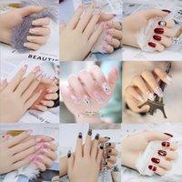 поддельные свадебные ногти оптовых-24PCS длинные накладные ногти свадебные украшения ногтей Блестящий Стразы Блеск цветов Нажмите на накладные ногти Советы