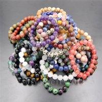 ingrosso pietre dei connettori dei monili-10pcs / lot 8mm gemme naturali pietre naturali rotondi perle braccialetto elastico 7.5