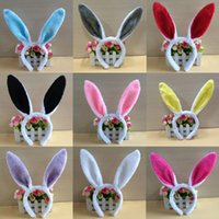 Wholesale women hair accessories online - Women Easter Rabbit Ears Headband Lovely Plush Fluffy Party Girls Headwear Cosplay Props Hair Accessory Party Favor Halloween QQA143