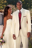 esmoquin de novio de marfil blanco al por mayor-Ivory Groomsmen Notch Lapel Groom Tuxedos White Trajes Boda / Prom Best Man Blazer (Jacket + Pants)