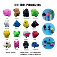 çizgi film sevimli kaplumbağa toptan satış-Karikatür Sevimli 16 Hayvanlar TPR Action Figure Modeli Kalem Topper Oyuncak Penguenler kaplumbağalar Enayi Emoji Oyuncaklar Hediyeler Çocuklar Için
