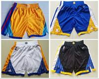 curry amarillo negro al por mayor-Shorts 30 CURRY para hombre Warriors Black white Royal Yellow 2018/19 Icon Edition Swingman Shorts