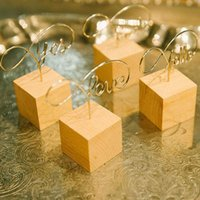Wholesale memo clips photo holders resale online - Fashion Letter Shape Wooden Memo Paper Note Picture Table Card Number Photo Clip Holder Handcraft Ornaments ZA5478