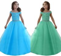 kızlar korse çocukları toptan satış-Custom Made Güzel Kızlar Pageant elbise Kapalı Omuzlar Kristaller Boncuklu Korse Geri Çiçek Kız Elbise Organze Çocuk Resmi Giyim