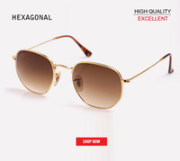 anteojos de mercurio al por mayor-Venta al por mayor Clásico Retro gafas reflectantes Hombre Hexágono Diseñador de Marca UV400 gafas de sol mujeres 3548 mercurio rosa espejo gradiente gafas de sol