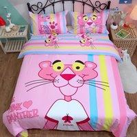 rosa gold bettwäsche setzt großhandel-Pink Panther Bettwäsche-Sets Niedliche Bettbezug Cartoon Baumwolle Bettlaken Twin Queen King Size Bettbezug Set Kinderbettwäsche
