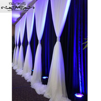 weiße seidenvorhänge großhandel-3M x 6M Hochzeit Eis-Silk Stoff Stoffe Weiß blaue Farbe mit Swag Requisit Art und Weise drapiert Vorhang Kulisse