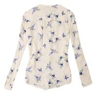 blusa mujeres pájaros al por mayor-Camisa de manga larga con cuello en V de New Chic para mujer Blusa de gasa Flying Birds Print Slim Top Nuevo
