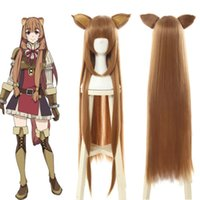Wholesale cospaly wig for sale - Group buy The Rising of the Shield Hero Raphtalia Long Straight Brown Cospaly Wig Ears