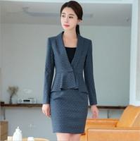 faldas a cuadros coreanos al por mayor-Ol Style Womens Formal Office Mini traje de falda Negro gris azul Plaid Trajes de falda coreana para las mujeres 2 piezas Set más el tamaño 4XL