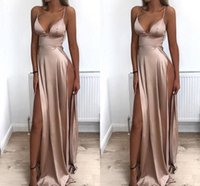 Wholesale paolo sebastian for sale - Group buy 2019 Sexy Special Occasion Dresses With Slit Spaghetti V neck Taffeta Backless Dresses Evening Wear paolo sebastiaN Formal Dress Prom