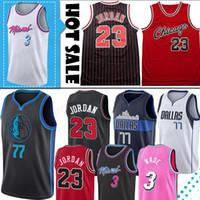 jerseys altos al por mayor-Dwyane Wade Jersey 3 NCAA Luka 77 Doncic Jersey 23 Michael MJ La escuela secundaria Colegio hombres jerseys del baloncesto