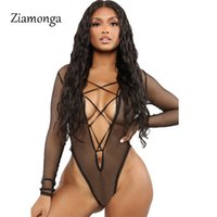 topos de malha do corpo venda por atacado-Ziamonga Fishnet Preto Malha Sheer Bodysuit Para As Mulheres Oco Out Sexy Body Jumpsuits Moda One Piece Bralette Teddy 2019 Tops