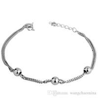 perlen armband preisgestaltung großhandel-925 Sterling Silber Bettelarmband für Frauen 3 Perlen Kette Stil Frauen Armreif Großhandelspreis Hochglanz rhodiniert Modeschmuck