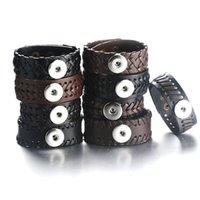 commande de bijoux achat en gros de-Bracelet en cuir tressé / Bracelet en cuir avec cordon de serrage Fit 18mm Snap Button Jewelry 9254Vous pouvez choisir plus de produits, plus le produit est bon