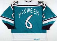 flügel tragen großhandel-Benutzerdefiniert 1995 96 Don McSween Anaheim Mighty Ducks Game Abgenutztes Hockey-Trikot Wild Wing Alternate Team Letter Genähte Logos gestickt