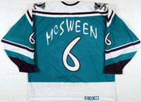 alas de desgaste al por mayor-Personalizado 1995 96 Don McSween Anaheim Mighty Ducks Juego Worn Hockey Jersey Ala Salvaje Letra del equipo alternativo Logos cosidos bordados