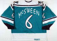 usure des ailes achat en gros de-Personnalisé 1995 96 Don McSween Anaheim Mighty Ducks Jeu Jersey de Hockey usé Aile Sauvage Lettre Alternatif de l'Équipe Lettre brodée