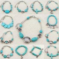 ingrosso bracciali da viaggio-Moda retrò Bohemian Bracciale turchese Laady pendenti creativi turchese braccialetto di perline Donna partito accessori gioielli da viaggio TTA832