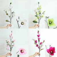 blühende magnolie großhandel-Künstliche Magnolia Blumen-Hochzeit Orchideen-Magnolien-Blumen-Startseite Wohnzimmer Office Shop Silk Magnolia Blumen-Dekoration