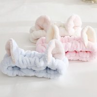 Wholesale girl cat ears headband resale online - Fashion Lovely Elastic Cat Ears Headband Girls Makeup Face Clean Washing Spa Head Ornaments For Women Towel