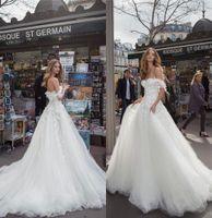 Wholesale short bride tulle dress for sale - 2019 Newest Julie Vino Wedding Dresses A Line Off Shoulder Appliques Summer Bohemian Bride Wedding Gowns