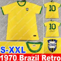 brazil dünya kupası futbol topları toptan satış-1970 Dünya kupası Brezilya Retro Futbol Jersey Vintage Klasik Andı antik Koleksiyon 1970 BR Pele futbol forması ev sarı futebol