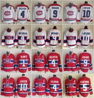maurice richard hockey jersey al por mayor-Hockey 10 Guy Lafleur Jersey Hombres Montreal Canadiens 9 Maurice Richard 1 Jacques Plante 4 Jean Beliveau 5 Bernie Geoffrion Vintage Classic