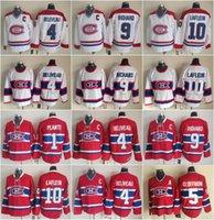 jean beliveau venda por atacado-Hockey 10 Guy Lafleur Jersey Masculino Montreal Canadiens 9 Maurice Richard 1 Jacques Plante 4 Jean Beliveau 5 Bernie Geoffrion Vintage Clássico