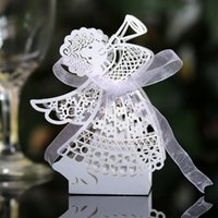 ingrosso nastro di angeli del bambino-50pcs Laser Cut Hollow Carriage Favore Regali Angel Girl Candy Scatole Con Nastro Compleanno Baby Shower Wedding Party Favore Forniture