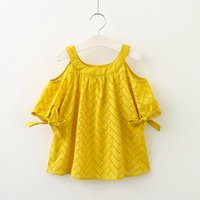 Wholesale hollow out shoulder dress for sale - Group buy New Baby Girl clothes Off the shoulder Dress Bowknot sleeve Hollow out Embroidery Loose Cotton Yellow Green Y Summer