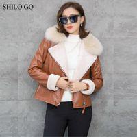 мех из овчины оптовых-SHILO GO Leather Jacket Womens Winter Fashion sheepskin genuine leather Jacket real  fur collar zipper lamb fur thick