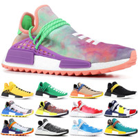 b9f35407f PW Human Race Hu Trail X Men Running Shoes Pharrell Williams Nerd Black  White Cream Tie Dye Sun Glow Womens Trainers Sports Sneakers