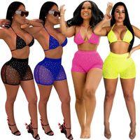 art und weise bloße badebekleidung großhandel-Neue Ankunft Sheer Mesh Diamanten Nachtclub Zweiteiler Damenmode Sexy Tankini Bademode Bh Top + Sommer Shorts Party Outfits
