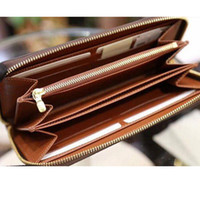 Wholesale red credit card wallet resale online - fashion designer credit card holder high quality classic leather purse folded notes and receipts bag wallet purse distribution box purse
