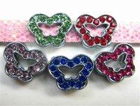 ingrosso scivolo farfalla per braccialetto-20pcs / lot 8mm colorato FARFALLE Scivolo fai da te fascino per bracciale cinturino 8mm braccialetto